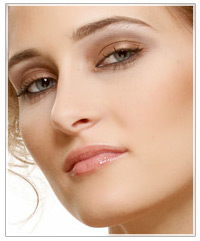 Model with mascara on
