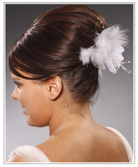 Model with a feather hair clip