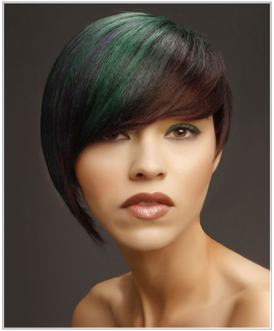 Model with multi-colored short straight asymmetrical hairstyle