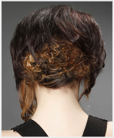 Model with curly updo