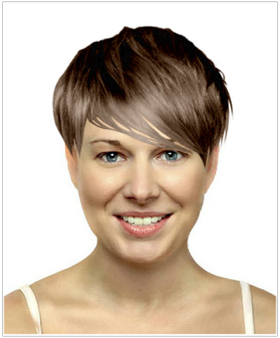Model with a short haircut