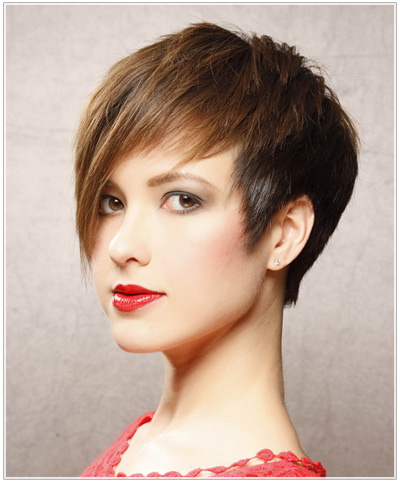 Model with short, sleek hair