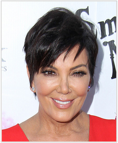Kris Jenner Short Straight Hairstyle with bangs