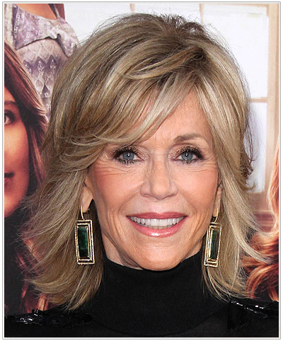 Jane Fonda Side Swept bangs Hairstyle