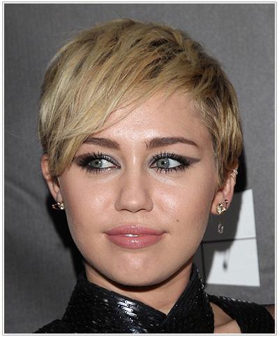 Miley Cyrus Short Straight Medium Blonde Hairstyle