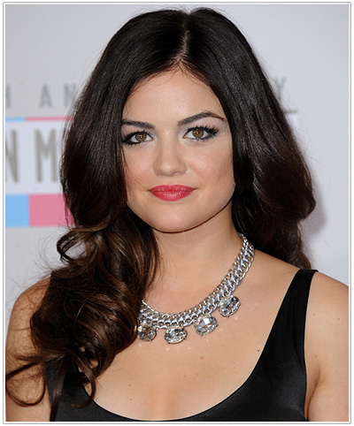 Lucy Hale Long Wavy Hairstyle for Triangular or Pear Face Shape.