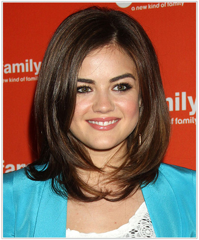 Lucy Hale Medium Straight Hairstyle for Triangular or Pear Face Shape.