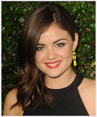 Lucy Hale Long Straight Hairstyle for Triangular or Pear Face Shape.