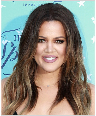Khloe Kardashian Long Straight Center-Parted Hairstyle