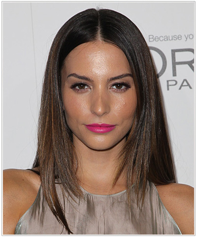 Genesis Rodriguez Long Straight Center-Parted Hairstyle