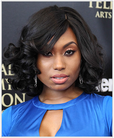Angell Conwell Medium Curly Hairstyle for Square Face Shapes