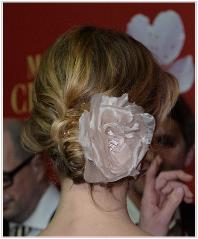 Eva Herzigova Updo Hairstyle - back view
