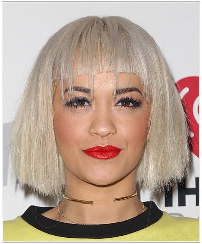 Rita Ora Medium Straight Bob Hairstyle with Bangs