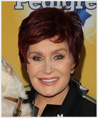 Sharon Osbourne Short Straight Hairstyle with Bangs