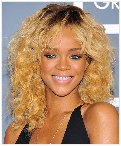 Rihanna Medium Wavy Swag Hairstyle.