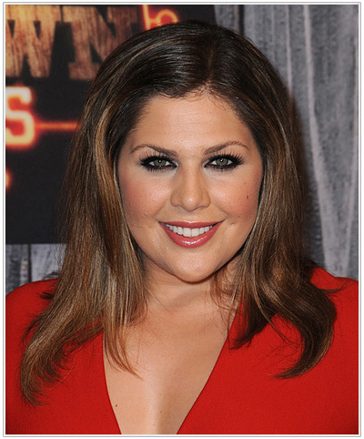 Hillary Scott Long Straight Hairstyle for Heart Faceshape.