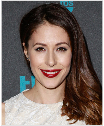 Amanda Crew Long Straight Hairstyle for Oblong face shapes.