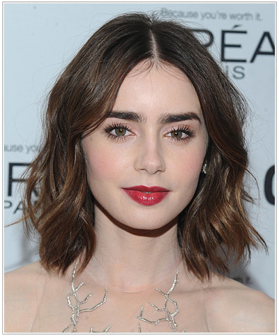 Lily Collins Medium Straight Hairstyle.