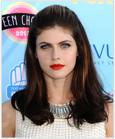 Alexandra Daddario Formal Straight Half Up Hairstyle.
