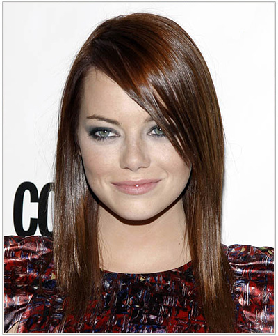 Emma Stone Long Straight Auburn Hairstyle.