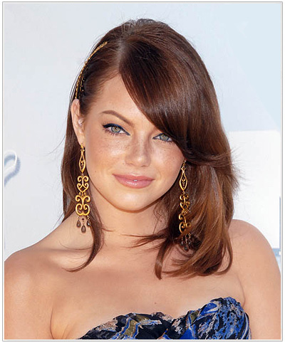 Emma Stone Long Straight Hairstyle.