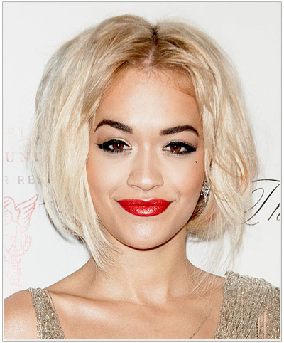 Rita Ora Short Straight Blonde Bob Hairstyle.