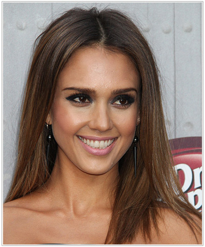Jessica Alba Long Straight Brunette Hairstyle.