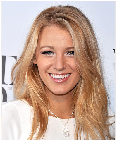 Blake Lively Long Straight Hairstyle with Streaky Highlights.