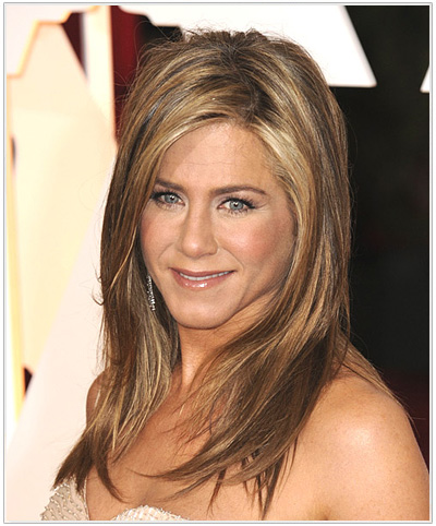 Jennifer Aniston Long Straight Hairstyle from the Academy Awards 2015.