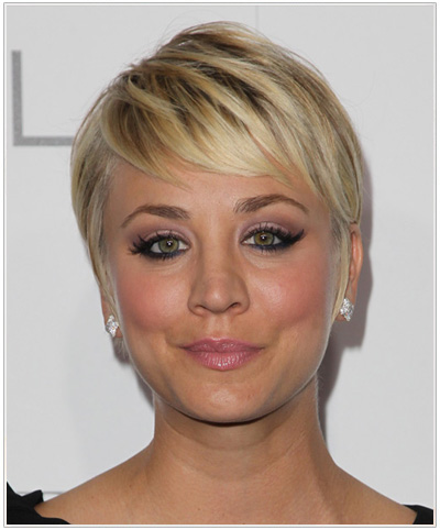 Kaley Cuoco Short Straight Hairstyle - Medium Blonde.