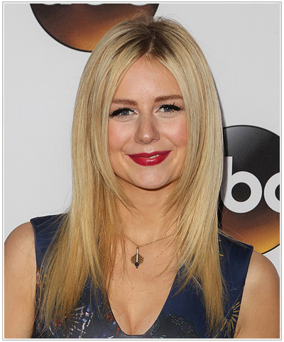 Justine Lupe Long Straight Hairstyle for Round Face Shapes.