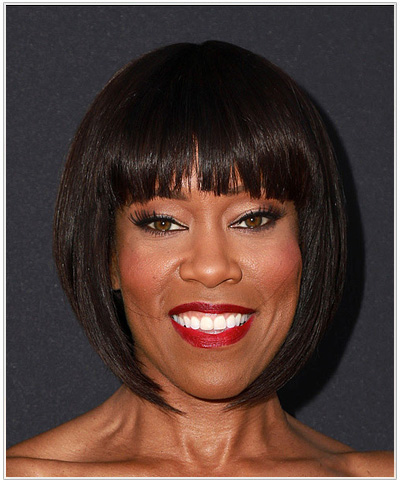 Regina King Medium Straight Bob Hairstyle.