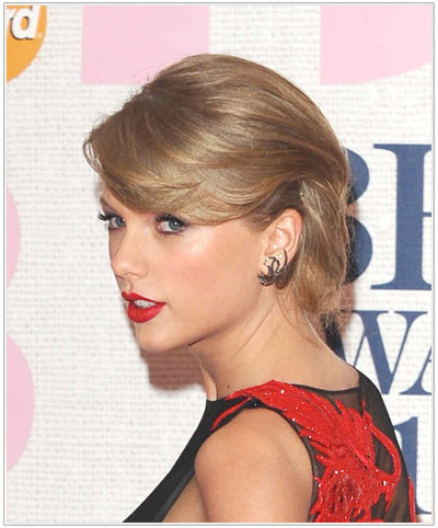 Taylor Swift Formal Updo with Bangs.
