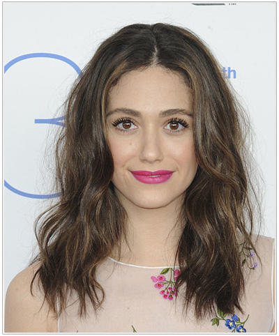 Emmy Rossum Long Wavy Hairstyle.