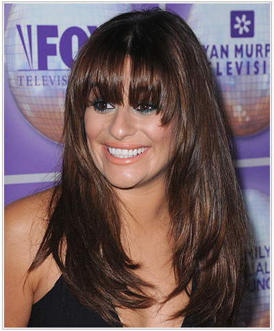 Lea Michele Long Straight Brunette Hairstyle.