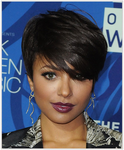 Kat Graham Short Straight Hairstyle.