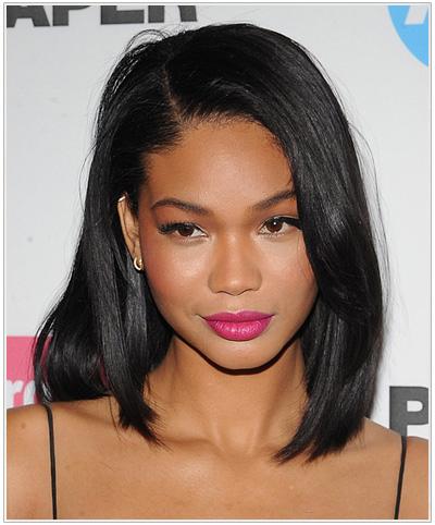 Chanel Iman Medium Straight Hairstyle.