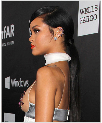 Rihanna Formal Updo Hairstyle.