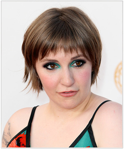 Lena Dunham Short Straight Hairstyle.