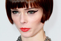 Coco rocha pageboy bob hairstyle and makeup side