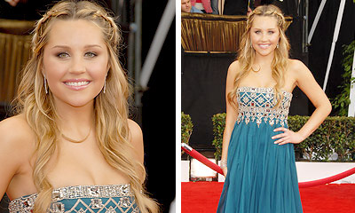 Amanda Bynes Half Up Braided hairstyle