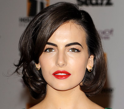 Camilla Belle Medium Wavy hairstyle and red lipstick
