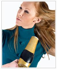 model blow-drying hair