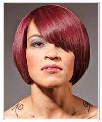 Woman with red alternative medium length hairstyle