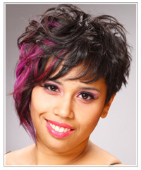 Woman with a short wavy hairstyle