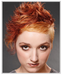 Model with wavy two-tone red hair
