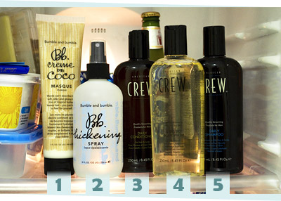 Hair care products by Bumble and bumble and American Crew