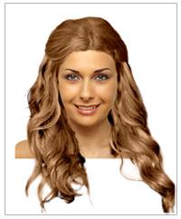 Half up half down long wavy hairstyle
