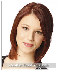 Model with medium length red hair