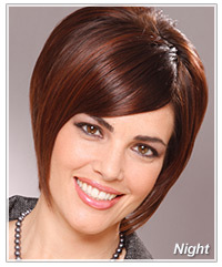 Model with short brown sleek hair
